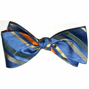 Bow Tie Men Silk BLUE ORANGE YELLOW Stripes SELF TIE Bowtie