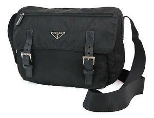 Authentic PRADA Black Nylon Shoulder Bag Purse #37943