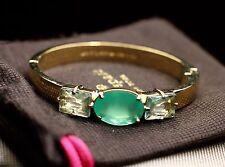 Kate Spade Hancock Park Earrings EMERALD GREEN OVAL Gold & BANGLE BRACELET SET
