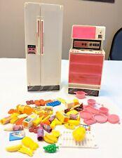 Vintage 1979 Mattel Barbie Kitchen Refrigerator Stove Oven 60 accessories lot