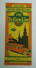 1920's The Yellow Line Bus Tours of New Orleans Fold out Brochure