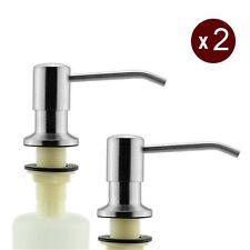 2X SUS 304Stainless Steel Soap Dispenser Satin Finish Kitchen Sink Liquid Bottle