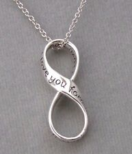 Infinity I love you forever Pendant Necklace 925 Sterling Silver Jewelry NEW