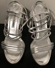 MANOLO BLAHNIK Heels Shoes 👠 Sexy Strappy Sandals Silver Size: 38.5 EUC