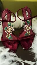 LeSilla DESIGNER Strappy Jewel Red Heels Size 37