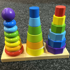 Wooden Shape Tower Educational Developmental Learning Toy Baby Toddler NEW
