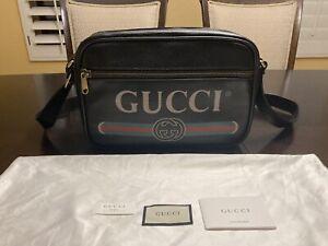New Authentic Gucci Leather Messenger Bag Vintage Logo Large