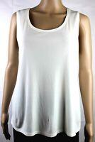 EILEEN FISHER 100% Silk Knit Jersey Sleeveless Tank Top Camisole Sz M Ivory EUC