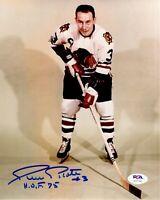 Pierre Pilote autographed signed 8x10 photo NHL Chicago Black Hawks PSA COA HOF