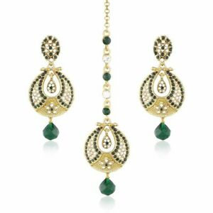 Balaji Collection Traditional Gold Plated Green Beaded Earring Set with Mang Tik