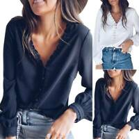 Women Plain V-Neck Long Sleeve T-Shirt Autumn Party Casual Loose Blouse Tops Tee