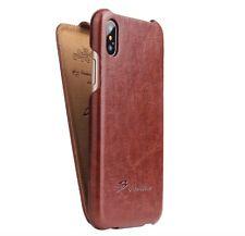 Auténtico marca de moda para el nuevo Apple Iphone X Marrón Cuero Abatible Cubierta Estuche
