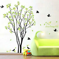 Green Tree & Bird Wall Stickers PVC Art Decals Removable Home Room Decor Mural