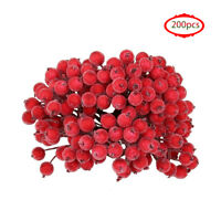 200pcs Artificial Frosted Berry Chic Mini Frosted Fruit Holly Flower DIY Decor