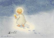 Kunstkarte: Erica von Kager - Engel mit Kerze im Schnee