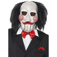 Unisex Scary Jigsaw Clown Mask With Hair Horror Saw Movie Accessory Fancy Dress