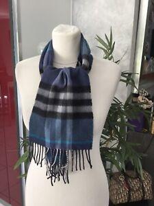 Echarpe BURBERRY laine et cachemire bleu/noir impeccable