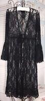NEW L Black Lace Tie Long Maxi Ruffle Kimono Duster Topper