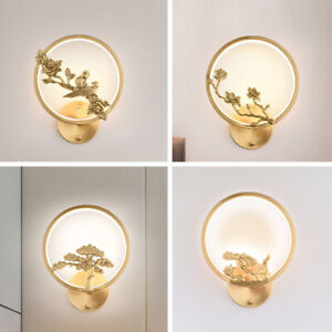 LED Copper Wall Light Rings Wall Lamp Bedroom Foyer Wall Sconce Chinese Lighting