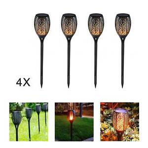 4 Pack 33 LED Solar Torch LED Flickering Light Dancing Flame Garden Lamp