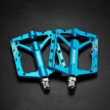 "ROCKBROS MTB Wide Bike Bicycle Pedals CNC Aluminum Sealed Bearing 9/16"" Blue"