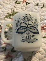 Vintage BLUE ONION Floral Glasbake Milk Glass Mug Coffee Cup stacking cup mug