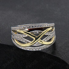 Solid Real 10k White & Yellow Gold 1.45Ct Diamond Wedding Band Ring For Women's