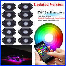 10x LED RGB Rock Lights UnderWheel Offroad Truck Music Strobe Bluetooth Harness
