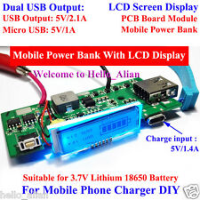 Dual USB 5V 1A 2.1A 3.7V Lithium 18650 Battery Charger Module Mobile Power Bank
