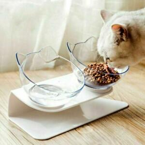 Cat Bowl Non-slip With Raised Stand Pet Food Water Feeder Dog Cat 15° Tilted