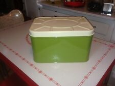 Vintage White and Green Tin Bread box   kitchen collectable Empeco