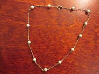 Tolles 925 Silber Collier Kette Perlen Vergoldet Plastik Kugeln Perlen ? Vintage