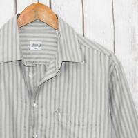 ARMANI Collezioni Men's button Front Dress Shirt Gray on Gray Striped Size 16 R