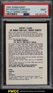 1962 Parkhurst Zip Contest Tally Game Card PSA 9 MINT