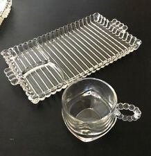 Hazel Atlas Orchard Snack set Candlewick/Boopie Ribbed Clear Glass Tray Tea Cup