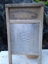 """National Washboard Co No. 860 Antique Primitive Wood with Glass Face 13"""" X 24"""""""