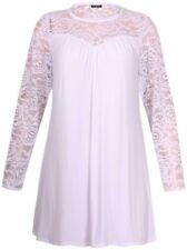 Camisas y tops de mujer de manga larga color principal blanco de encaje