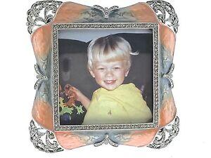 Art Deco Picture Frame 226BL Bejeweled w/ Swarovski Crystals Blue Mauve Enamel
