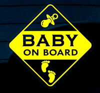 BABY ON BOARD STICKER DECAL SIGN CAR WINDOW SAFETY Footprints REUSABLE Yellow +