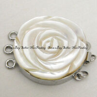 Natural Shell Cameo Flower  Clasp 3 Strands Finding