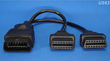 OBD2 16-PIN Y ADAPTER SPLITTER MALE FEMALE OBD II OBDII J1962M J19662F US SELLER