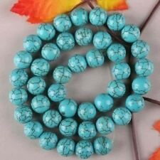 8MM Blue Turkey Turquoise Gem Round Loose Bead 15""