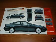 ★★1992 VAUXHALL/OPEL CALIBRA TURBO SPEC SHEET BROCHURE INFO PHOTO 92 93 94 95 ★★