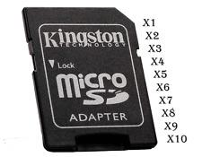 Adaptador tarjetas micro SD SDHC x1 hasta x10 marca Kingston  bloqueo seguridad