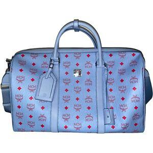 MCM Traveler Weekender Bag In Visetos In Blue Bell wie neu 45 cm Medium