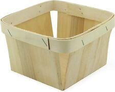 Cornucopia One Quart Wooden Berry Baskets (8-Pack); 5.75-Inch Square