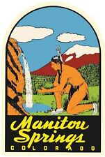 Manitou Springs Indian Colorado  CO  Vintage Looking Travel Decal Label  Sticker