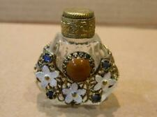 Mini Brass Overlay Clear Glass Perfume Bottle w/ Enamel Flowers & Stones Antique