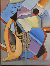 Abstract 'MAN & HARP' Surrealism Vintage Oil Painting Expressionism