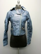 RD STYLE Blue Long Sleeve Full Zip Hood Faux Leather Jacket NWT Sz XS EE2658